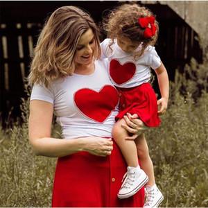 Bebek Yaz Giyim Setleri 1-5 T Bebek Çocuk Valentine 2 Renkler Giysi Inciler Kalp Üst Gömlek Etek 2 adet Set Kıyafet One Adet Gönder