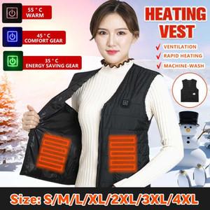 2020 Winter Unisex USB 3 Gear Adjustable Heating Vest Recharge Electric Heated Coat Jacket Infrared kating Ski Sport Waistcoat