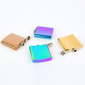 20pcs 3 Colors 6oz Hip Flask Flagon Jug Rose Gold Rainbow Colorful Stainless Steel Glass Whiskey Water Bottle Wine Glasses DHE2517