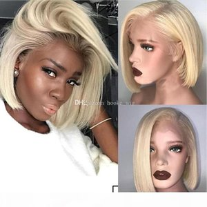 Human Bob Front Lace Wigs Ombre 613 Blonde Virgin Brazilian Pre Plucked Short Human Blonde Hair Lace Front Wigs For Women