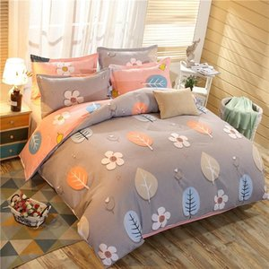 designer bed comforters sets 4pcs set Brief Style Cartoon Printing Comfortable Bedding Set Bed Linings Duvet Cover Bed Sheet Pillowcases