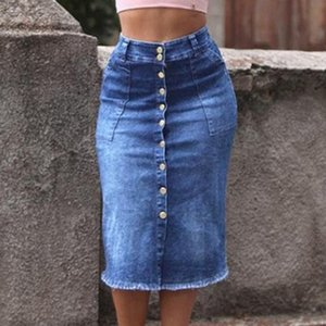 # Fashion Womens Slim Thin Buttons With Pockets Denim Skirt Middle Skirt Evening Party Short Skirts Patchwork Denim Skirts