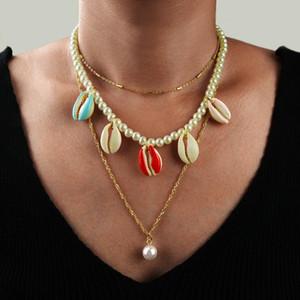 Moda Natural Shell Pearl Colgante Collar Mujer Moda Bohemio Cáscara Collar Multi-Capa Collar Joyería Mujer