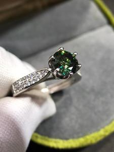 GEOKI 925 Sterling Silver 1 CT Verde Moissanite Rainha Anel Passado Diamante Teste Esmeralda Engajamento Anéis Mulheres Luxo Jóias Z1119