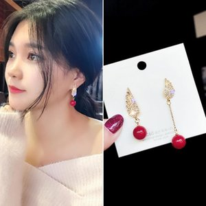Stud Korean Asymmetric Red Wing Earrings Pin