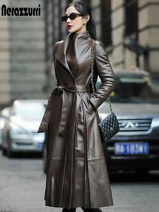 가을 Nerazzurri 트렌치 벨트 긴 소매 스커트 가짜 가죽 코트 여성 플러스 사이즈 패션 2020 7xl