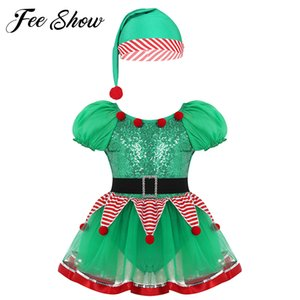 Baby Girl elf christmas Dress for Girls New Year Festival Santa Clause Costume Sequined Kids Fancy Dress Up Party Dresses F1202