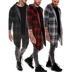 Designer Men's Trench Coat Casual Plaid Windbreaker Mid-length Lapel Blouses Shirt jacket Long Sleeve Oversized Male