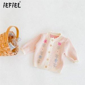 Bebek Yenidoğan Bahar Sonbahar Bebek Kız Giysileri Sevimli Örgü Kumaş Uzun Kollu Hırka Çocuk Kazak Katı Çocuk Giyim