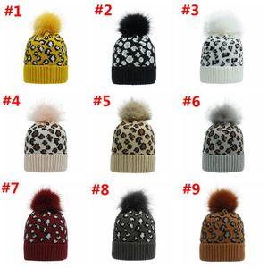 Leopard Pom Pom Beanies Women Winter Warm Knitted Hat Bonnet Pom Beanie Fashion Knit Caps Wool Hats 9 Colors ZZC2977