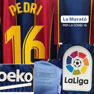 2020 La Marato Jogador desgastado Edição Pedri Messi Grisezmann Detalhes Futebol Patch Badge
