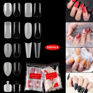 500PCS Clear False Nail Tips Lady French Style Acrylic Artificial Tip Manicure with Bags of 10 Sizes for Nail Art Salons and Home DIY