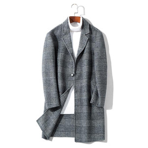 Double-sided cloth coat in the men's long grid 2020 new wool woolen cloth coat male han edition leisure men's clothing