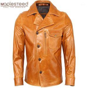 Men Leather Jacket 100% Cowhide   Oil Waxed Sheepskin Soft Genuine Leather Jacket Man Skin Coat Autumn Male Clothing Winter M3671