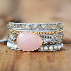 Premium New Wrap Bracelet W  Natural Stones Cozy Vegan Cord Weaving Statement Bracelet Jewellery Gifts F1201