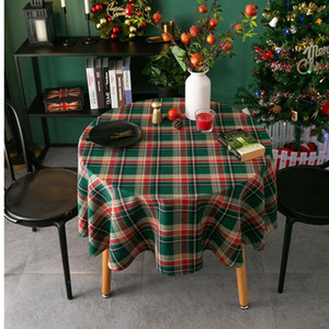 Round Christmas Tablecloth Red Green Checkered Tablecloth Christmas Decorations Desktop Decoration Round Tablecloth 90 100 120 150cm XD24159