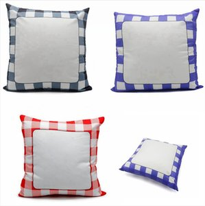 40*40 Sublimation Pillowcase Grid Blank White Pillow Case Heat Transfer Cushion Covers Square Throw Sofa Cover Sea Shipping DDA775