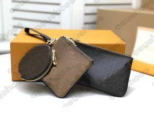M68756 trío 3 en 1 diseñador de mujeres bolsas de embrague bolso bolso de bolso código de fecha llave de moda bolsas de tarjeta de tarjeta de cartón grandes bolsas de letras