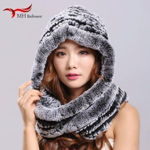 2020 100% Rex fur scarf cap ladies winter hooded scarf thick woven sweet fashion warm fur casual hat womens
