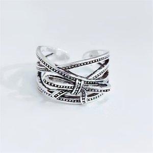 Party Vintage Black Punk Luxus Designer Einstellbare Womens Ring Bow Knotengeometrie Thailändisch Multi-Layered Fingerring Webart