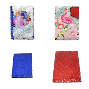A5 Sublimation Blank Notepad Flipping Mermaid Sequin Notes Pad Students School Office Notepads Unicorn Flamingo Red Blue Rectangle 15 8ex G
