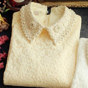 New Design Lace Women Blouse And Shirts Thicken Warm Fleece Solid Beige White Lace Flower Embroidery Pearl Slim Office Lady Tops