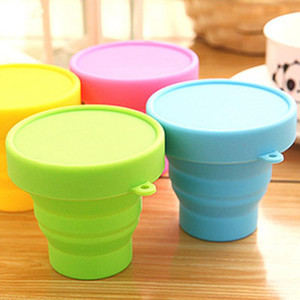 Folding Cups 170ml Food Grade Water Cups Gargle Travel Silicone Retractable Coloured Portable Outdoor Coffee Handcup HWF5088