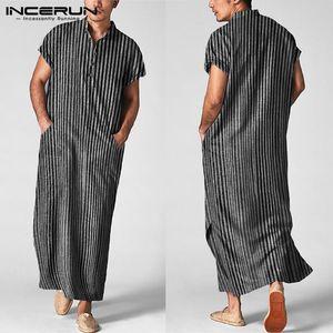 Мужчины Исламский арабский кафтан полосатый с коротким рукавом повседневные карманы мусульманские халаты хлопок Саудовская Аравия Дубай мужская Джубба Thobe Incerun 5XL