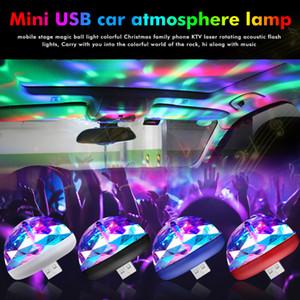 Mini USB LED Disco Car Ambient Light Portable DJ RGB Mini Music Sound Light Crystal Magic Ball Light Car Car Accessories