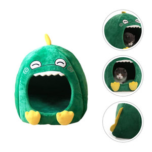 1pc Cotton Pet House Lovely Pet Nest Dinosaur Shaped Plush Cat House Half Closed Cat Tent for Puppy Dog