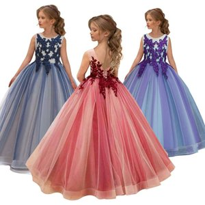 Girls Wedding Kids Dresses For Girl Party Dress Lace Princess Summer Teenage Children Princess Bridesmaid Dress 8 10 12 14 Years F1203