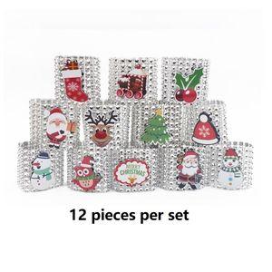 Рождество 8 рядов алмазные салфетки кольцо снеговика елки ресторана ресторана сетка алмазное кольцо салфетки 12 штук за набор 13 * 4см