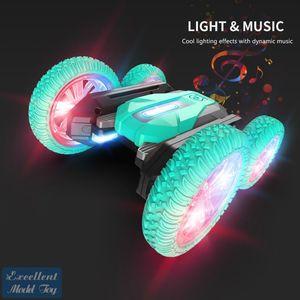 EMT ST2 2.4G Gesture Sensing Remote-Control Stunt Car Toy, Driving on Both Sides, Rotare& Deform, Color Lights, Christmas Kid Boy Gift, 2-1