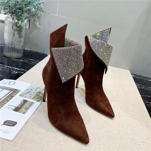 Ollymurs Yeni Moda Kristal Çocuk Süet Kadın Çizmeler Seksi Sivri Burun Sliw Ince Yüksek Topuk Kadın Sonbahar Ayak Bileği Çizmeler Ayakkabı Kadın