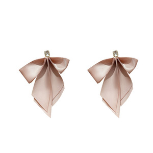 925 Silver Needle Ribbon Bow Earrings Autumn and Winter Fashion Exaggeration Personality Sweet Girl's Heart Earrings