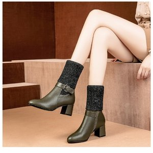 vogue l women High-heeled tall knitting boot 201123