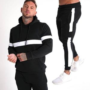 New men's wear zipper hooded fitness sports suit for 2020 Street trend striped men's sports suit for