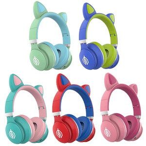 Newest LED Cat Ear Headphones Bluetooth 5.0 Noise Cancelling Adults Kids Girl Headset Support TF Card With Mic Dropshipping