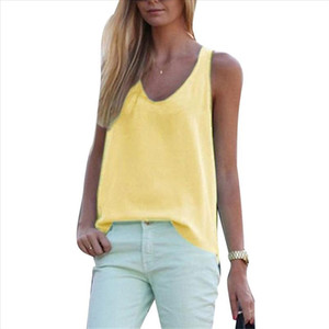 Solid Color Round Neck Sleeveless Chiffon Blouse Summer Women Vest Tank Top 2020 New Fashtion Plus size Womens wear