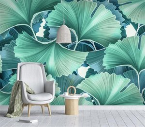 Bacal custom large 3D wallpaper mural Nordic small fresh rural hand-painted green ginkgo leaf living room background wall huda