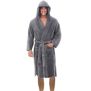 Winter Long Robe Casual Mens Bathrobes V-Neck Long Sleeve Mens Bath Robe Pajamas Plush Shawl Kimono Warm Male Bathrobe Coat 201109