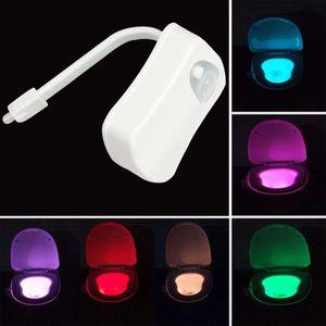 Smart Bathroom toilet light 8 LED color closestool Body Motion Activated Seat PIR Sensor Auto Lamp Activated Pedestal