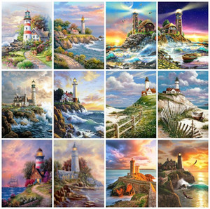 Evershine Diamond Painting Lighthouse Cross Stitch Diamante Embrodiery Seaside Paisagem Strass Arte Handmade Home Decor