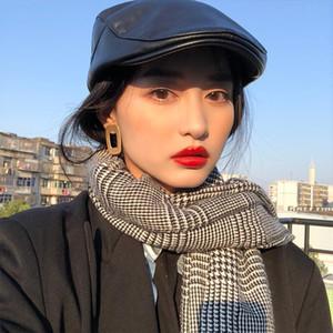Celebrity Cap Women Faux Cuero Beret Femenino Otoño Invierno Short Brimmed Cap British Forward Hat Tetro Moda Joker Coreano