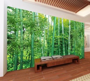 Free Shipping Bamboo Landscape Natural Green Living Room TV Background Wall 3D Custom Wallpaper Restaurant Teahouse Mural