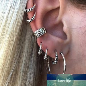 E0263 Bohemian Style Silver Color Earring Set Punk Style Vintage Hoop Earrings Ear Clip for Women 7 Pcs Set Hot Sale Wholesale