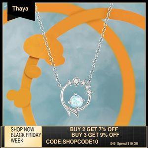 Thaya S925 Gümüş Kolye Zincir Mermaid Tasarım Mavi Yapay Kristal Gümüş Kolye Kolye Kadınlar Için Güzel Takı Z1126