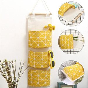 1 Pcs Hanging Storage Organizer Bag Wall Mounted Wardrobe Sundries Hanging Bag Cosmetic Container Fabric Cotton Pouch