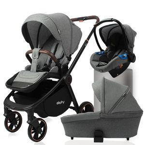 Luxmom Baby Stroller Four-Wheel Stroller High View 2-em-1 3-em-1 Multifuncional Segurança Assento Sleeping Cesta