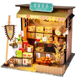 Cutebee DIY Дом Миниатюра с мебелью Светодиодная модель Строительные блоки Игрушки для детей Casa de Boneca Китайская народная архитектура Y1201